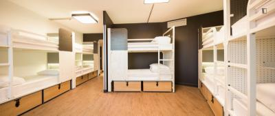 Bed in an ensuite 10-bed dorm, in a hostel near Colonel Fabien metro station