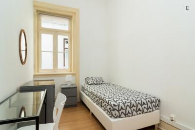 Comfy single bedroom near Faculdade de Ciências Sociais e Humanas