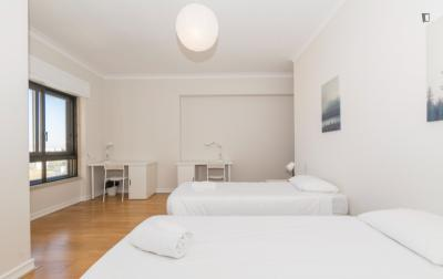 Appealing twin bedroom with a great view, in Sete Rios