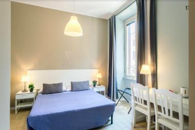Double ensuite bedroom near Museo Nazionale Romano, Terme di Diocleziano