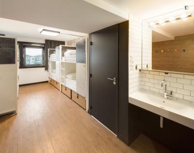 Bed in an ensuite 6-bed dorm, in a hostel near Colonel Fabien metro station