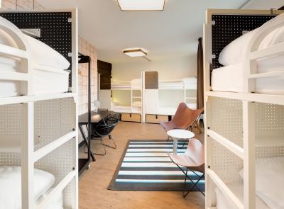 Bed in an ensuite 8-bed dorm, in a hostel near Colonel Fabien metro station