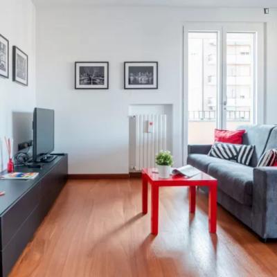 Bright one-bedroom apartment with balcony near Chiesa Rossa metro station