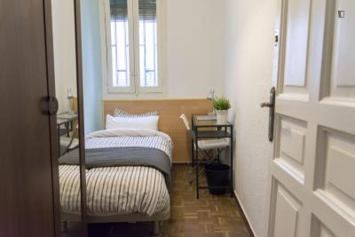 Single bedroom in 9-room apartment in Madrid's historical downtown area